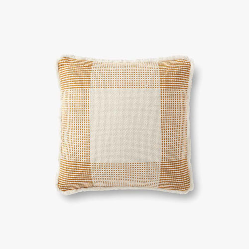Natural and Gold Fringed Geometric Woven Plaid Throw Pillow