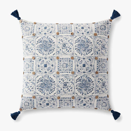 Blue and White Tassels Accent Pillow