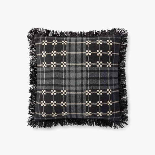 Black and Gray Embroidered Fringed Plaid Pillow