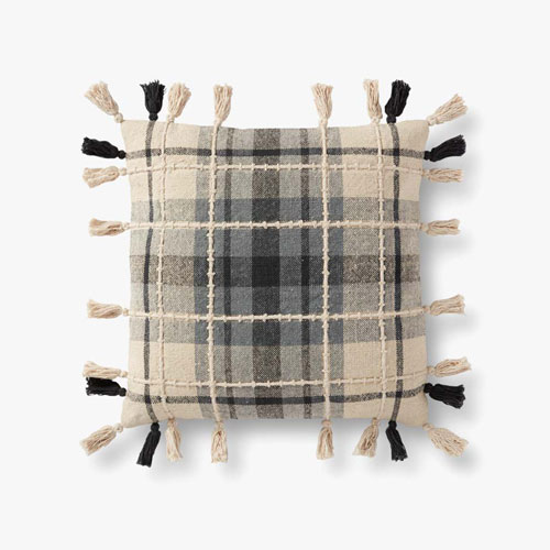 Gray and Black Embroidered Plaid Pillow with Tassels