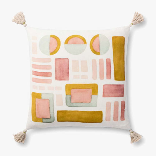 Pink and Gold 22 In. x 22 In. Pillow with Tassels