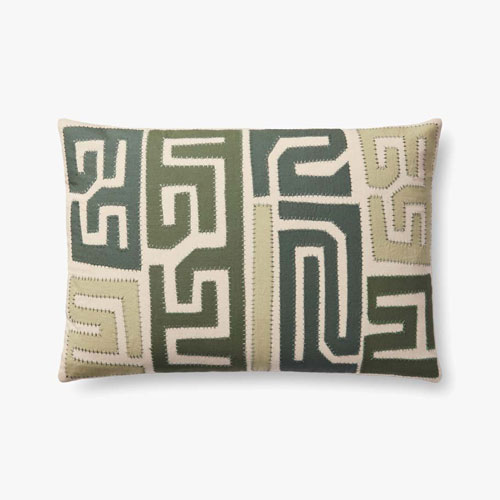 Justina Blakeney Green Kuba Cloth Pattern Appliqued Pillow with Hand Embroidery