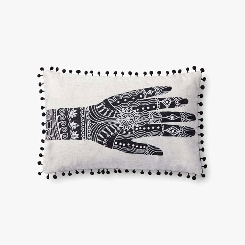 Justina Blakeney Hand Blocked and Embroidered Henna Painting Lumbar Pillow