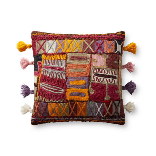 Pink, Yellow and Blue 18 In. x 18 In. Pillow with Tassels