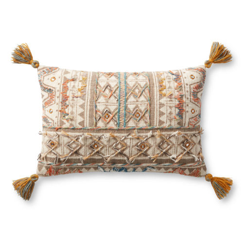 Beige and White 13 In. x 21 In. Pillow with Tassels