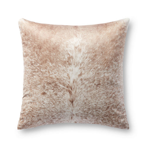 Tan and White 22 In. x 22 In. Pillow