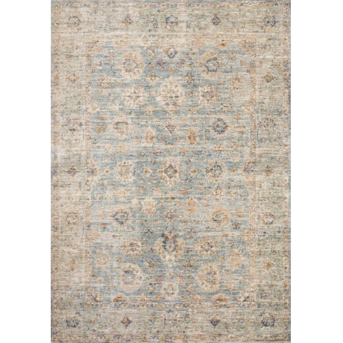 Revere Light Blue with Multicolor Rectangle: 2 Ft. x 3 Ft. 2 In. Rug