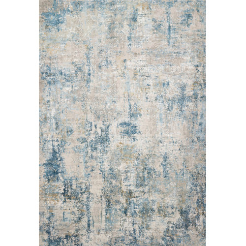 Sienne Gray and Blue 94 x 130-Inch Power Loomed Rug