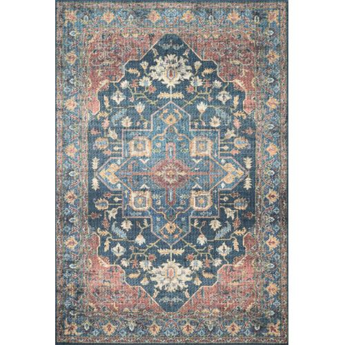 Skye Denim and Brick 60 x 90-Inch Power Loomed Rug