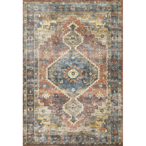 Skye Rust and Blue 5 Ft. x 7 Ft. 6 In. Power Loomed Rug