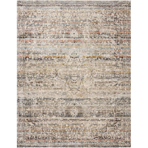 Theia Taupe and Multicolor 34 x 96-Inch Power Loomed Rug