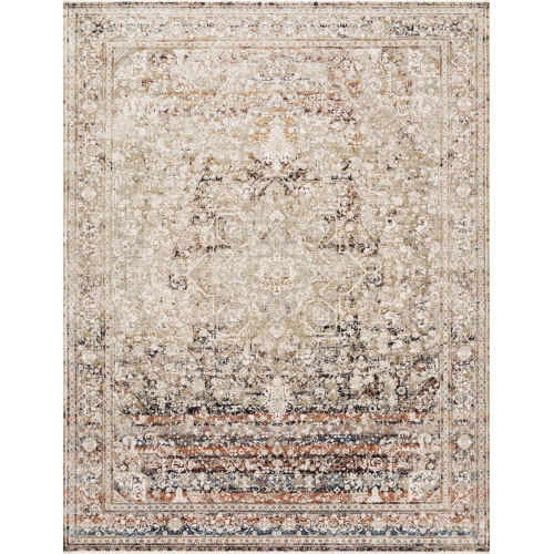 Theia Taupe and Brick 34 x 120-Inch Power Loomed Rug