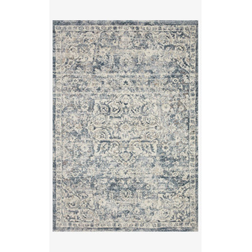 Theory Ivory and Blue Runner: 2 Ft. 7 In. x 13 Ft.