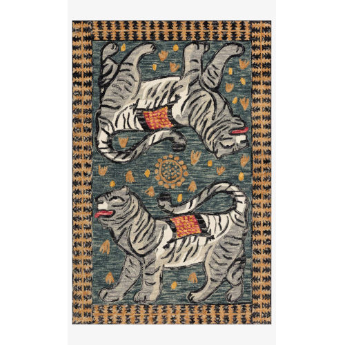 Justina Blakeney Tigress Teal and Grey Rectangle: 5 Ft. x 7 Ft. 6 In. Rug