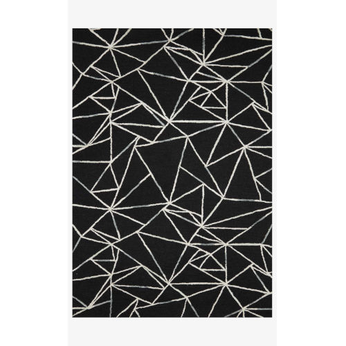 Verve Black and Ivory Rectangle: 7 Ft. 9 In. x 9 Ft. 9 In. Rug