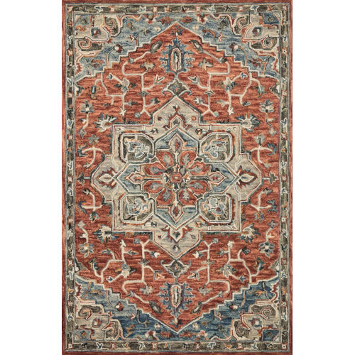 Victoria Red with Multicolor Rectangle: 5 Ft. x 7 Ft. 6 In. Rug