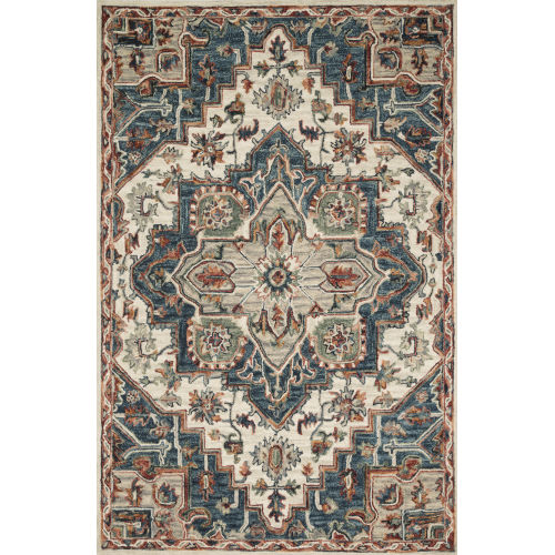 Victoria Blue with Red Runner: 2 Ft. 6 In. x 7 Ft. 6 In.