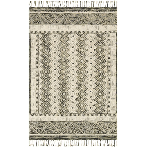 Zharah Charcoal and Taupe 7 Ft. 9 In. x 9 Ft. 9 In. Hooked Rug
