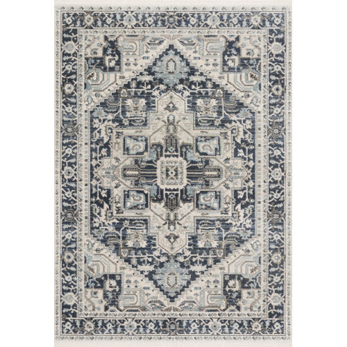 Athena Navy and Ivory 2 Ft. 6 In. x 7 Ft. 5 In. Power Loomed Rug