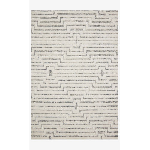Hagen White and Sky Rectangular: 2 Ft. 7 In. x 10 Ft. 10 In. Area Rug