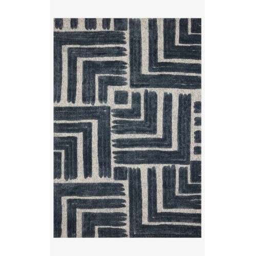 Hagen Blue and White Rectangular: 2 Ft. 7 In. x 7 Ft. 8 In. Area Rug