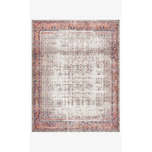 Layla Ivory and Brick Rectangular: 7 Ft. 6 In. x 9 Ft. 6 In. Area Rug