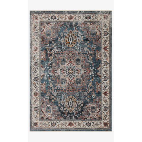 Samra Slate and Multicolor Rectangular: 2 Ft. 7 In. x 8 Ft. Area Rug