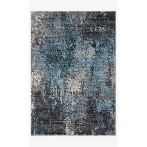 Samra Charcoal and Sky Rectangular: 5 Ft. 3 In. x 7 Ft. 9 In. Area Rug