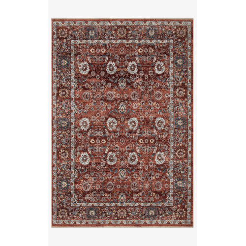 Samra Brick and Multicolor Rectangular: 9 Ft. 6 In. x 13 Ft. 1 In. Area Rug