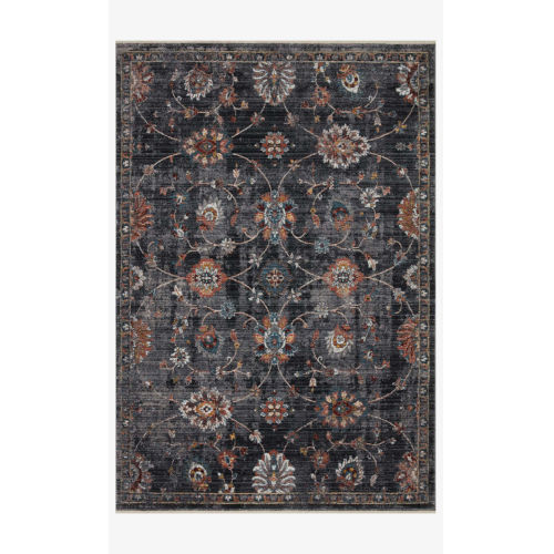 Samra Charcoal and Multicolor Rectangular: 2 Ft. 7 In. x 12 Ft. Area Rug