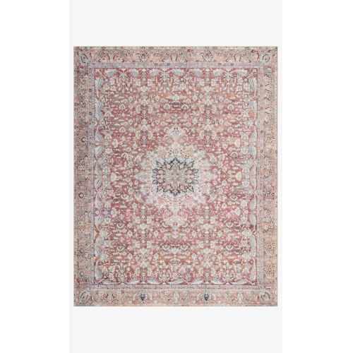 Wynter Tomato and Teal Rectangular: 2 Ft. 6 In. x 12 Ft. Area Rug
