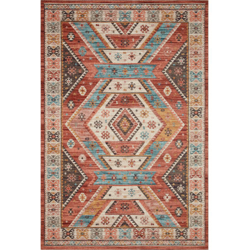 Zion Red Multicolor Rectangular: 2 Ft. 3 In. x 3 Ft. 9 In. Rug