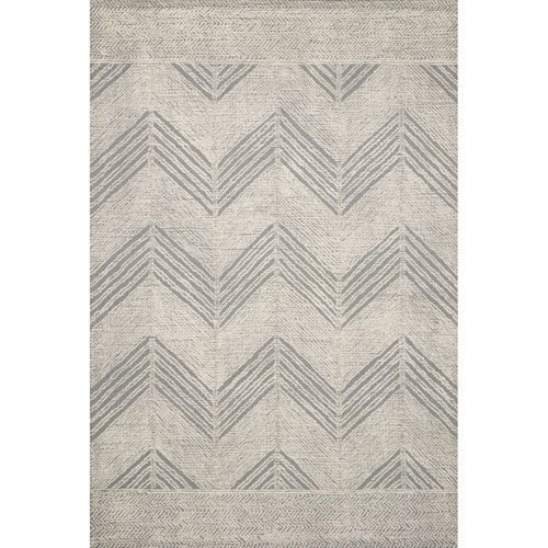 Crafted by Loloi Kopa Grey Ivory Rectangle: 7 Ft. 9 In. x 9 Ft. 9 In. Rug
