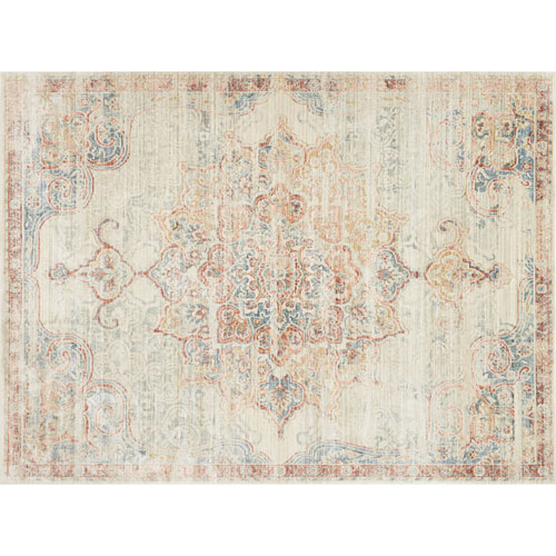 Crafted by Loloi Trousdale Ivory Red Rectangle: 7 Ft. 10 In. x 10 Ft. 6 In. Rug