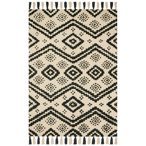 Crafted by Loloi Zagora Ivory Black Rectangle: 3 Ft. 6 In. x 5 Ft. 6 In. Rug