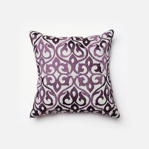 Grey and Plum 18-Inch Decorative Pillow with Poly Insert
