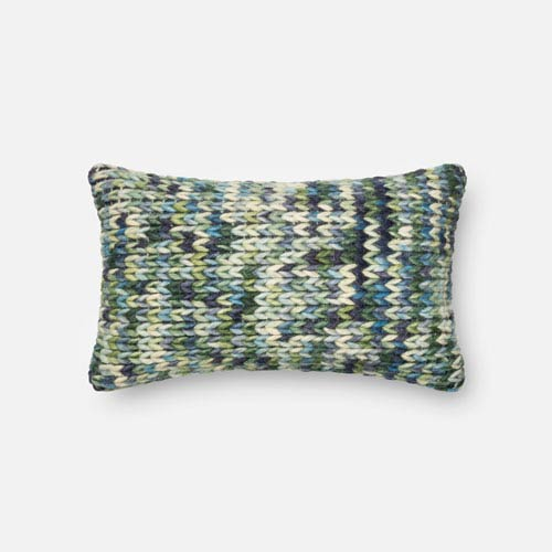 Green and Blue 13 x 21-Inch Decorative Pillow with Poly Insert