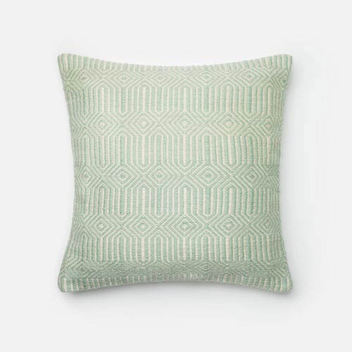 Aqua and Ivory 22-Inch Decorative Pillow with Poly Insert