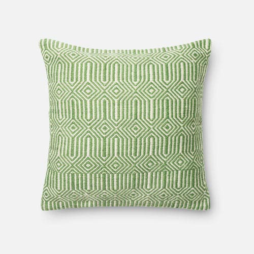 Green and Ivory 22-Inch Decorative Pillow with Poly Insert