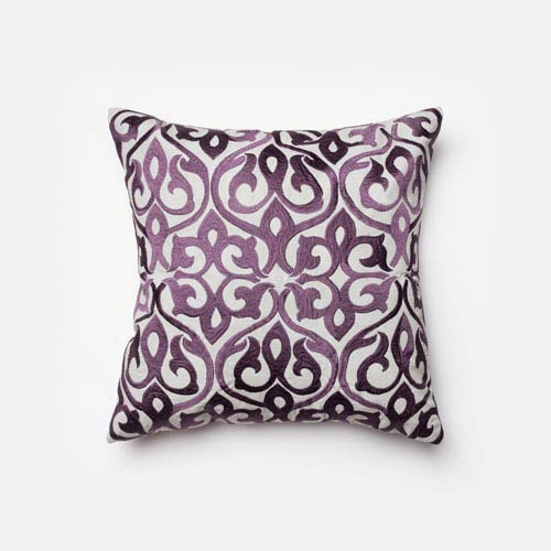 Grey and Plum 18-Inch Decorative Pillow with Down Insert