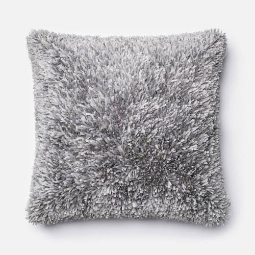 Grey 22-Inch Decorative Pillow with Down Insert