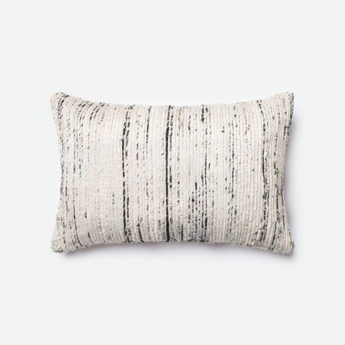 Silver 13-Inch x 21-Inch Decorative Pillow with Down Insert