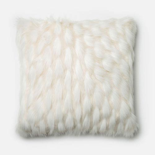 White 22-Inch Decorative Pillow with Down Insert