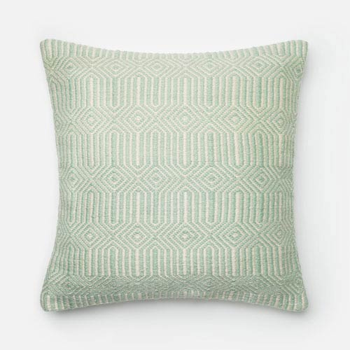 Aqua and Ivory 22-Inch Decorative Pillow with Down Insert