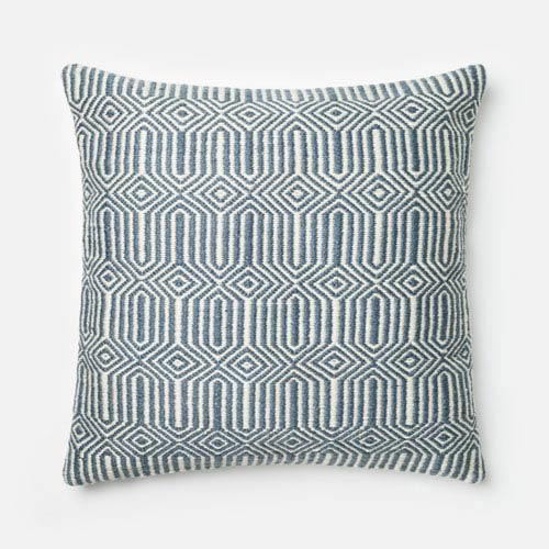 Blue and Ivory 22-Inch Decorative Pillow with Down Insert