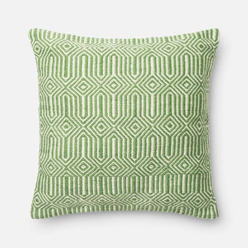 Green and Ivory 22-Inch Decorative Pillow with Down Insert