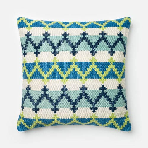 Blue and Green 22-Inch Decorative Pillow with Down Insert