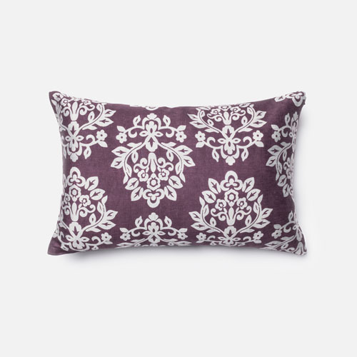 Plum and Silver 13-Inch x 21-Inch Decorative Pillow with Down Insert