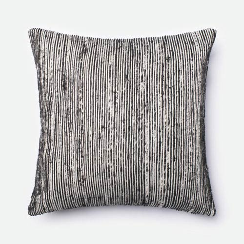 Black 22-Inch Decorative Pillow with Down Insert