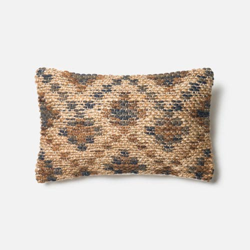 Brown and Beige 13-Inch x 21-Inch Decorative Pillow with Down Insert